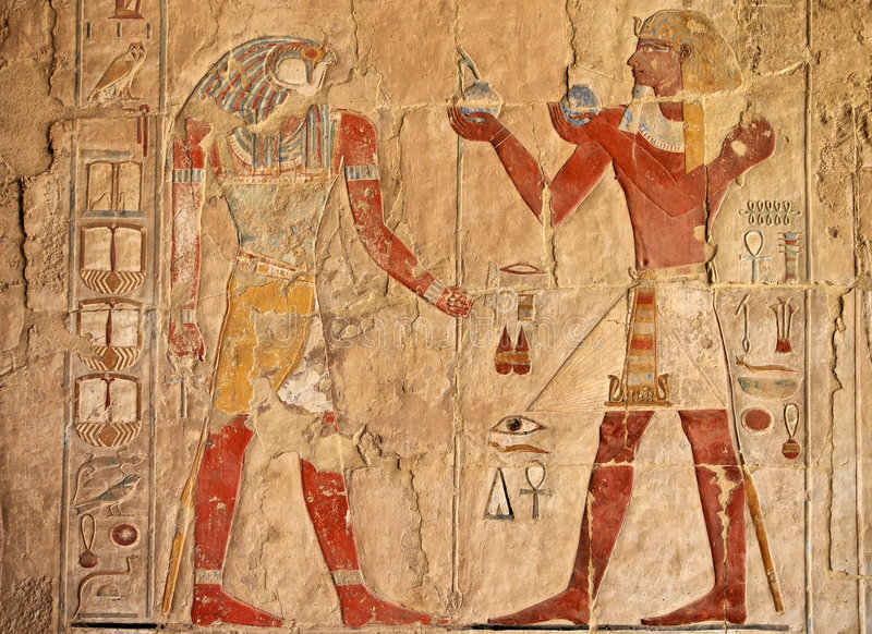 古老埃及壁画 库存图片