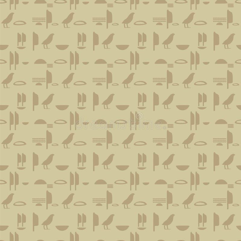古老埃及水平线无缝的传染媒介样式的棕色沙子标志象形文字仿制题字墙壁  库存例证