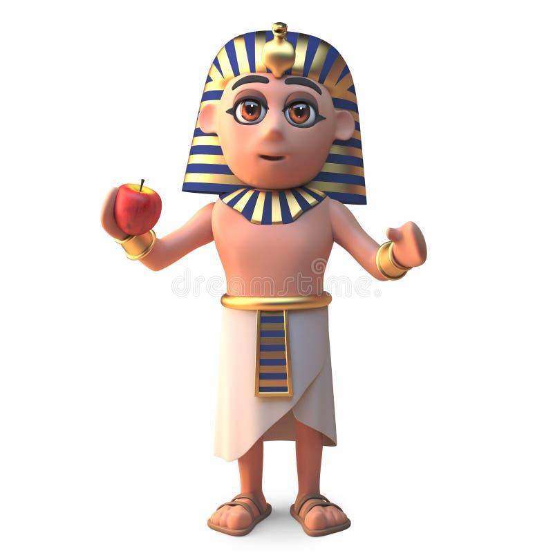 古老埃及法老王吃苹果,3d的图坦卡蒙例证 向量例证
