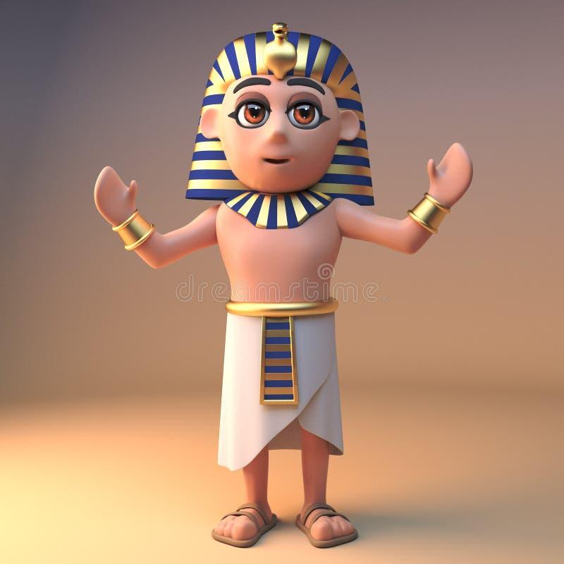 古老埃及法老王Tutankhamun对人民,3d演讲例证 库存例证