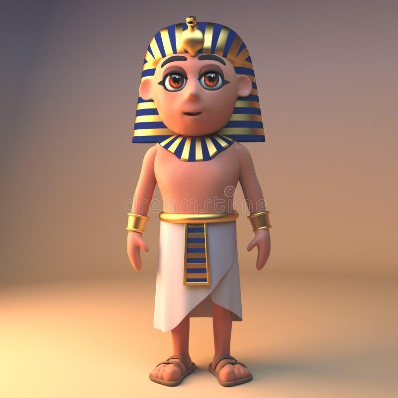 古老埃及法老王Tutankhamun站立高尚和超然物外,3d例证 库存例证