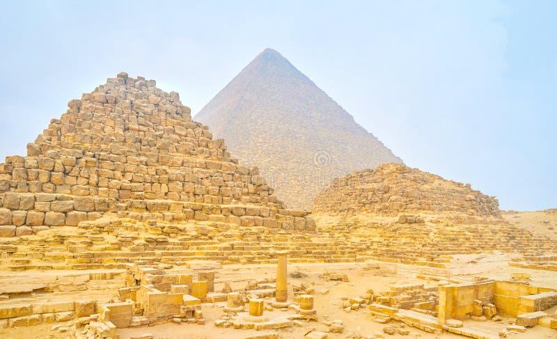 古老埃及王国,吉萨棉遗骸  免版税库存照片
