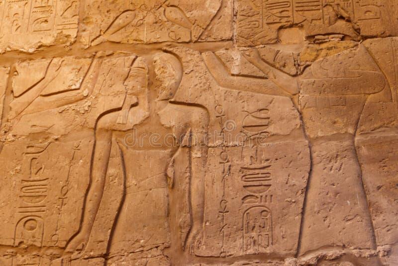 古老埃及绘画和象形文字在墙壁上在卡尔纳克寺庙复合体在卢克索,埃及 库存照片