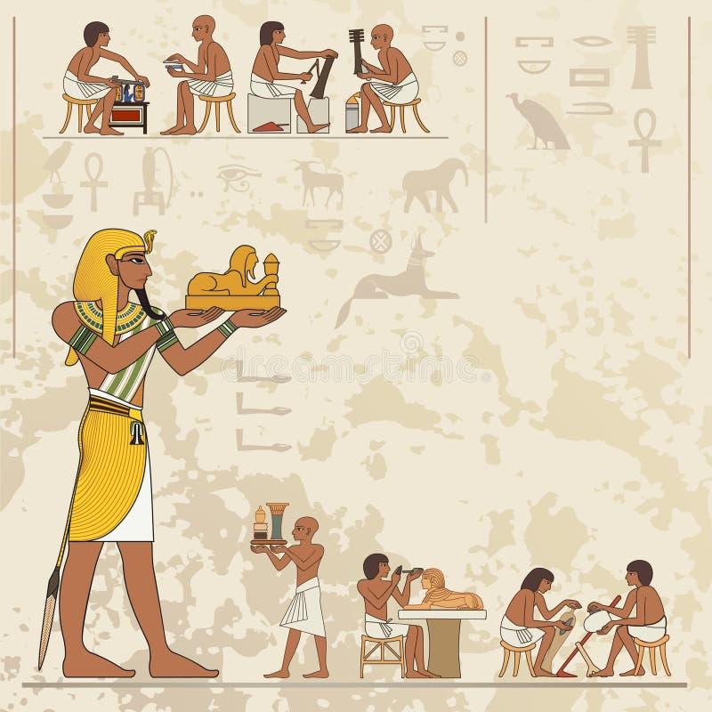 古老埃及象形文字和标志 向量例证