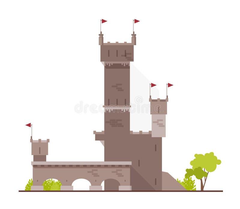 古老城堡、堡垒、城堡或者堡垒与在白色背景和曲拱隔绝的塔 石大厦  库存例证