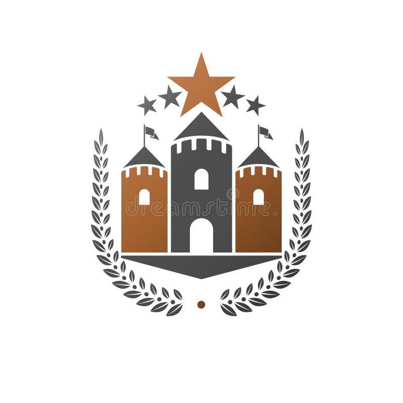 古老城堡象征 纹章学徽章装饰商标被隔绝的传染媒介例证 在老牌的华丽略写法在白色 皇族释放例证