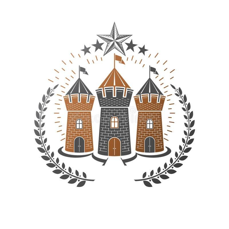 古老城堡象征 纹章学徽章装饰商标被隔绝的传染媒介例证 在老牌的古色古香的略写法在白色 皇族释放例证