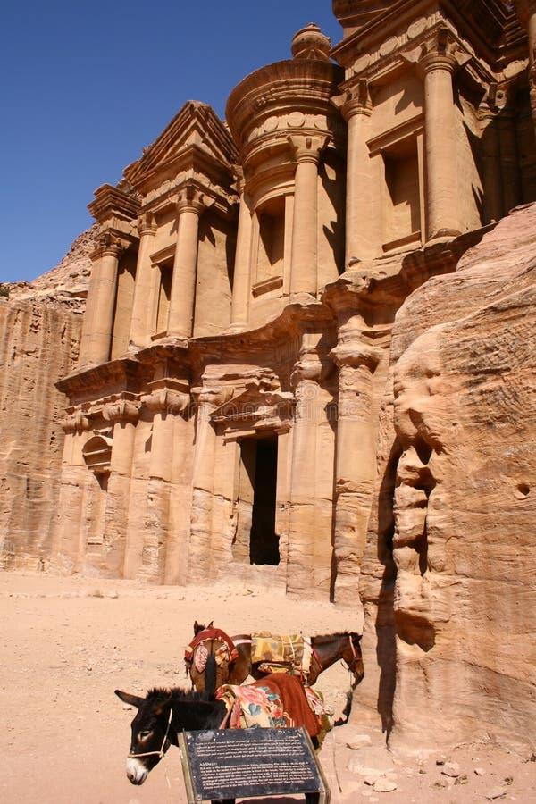 古老城市修道院petra岩石 图库摄影