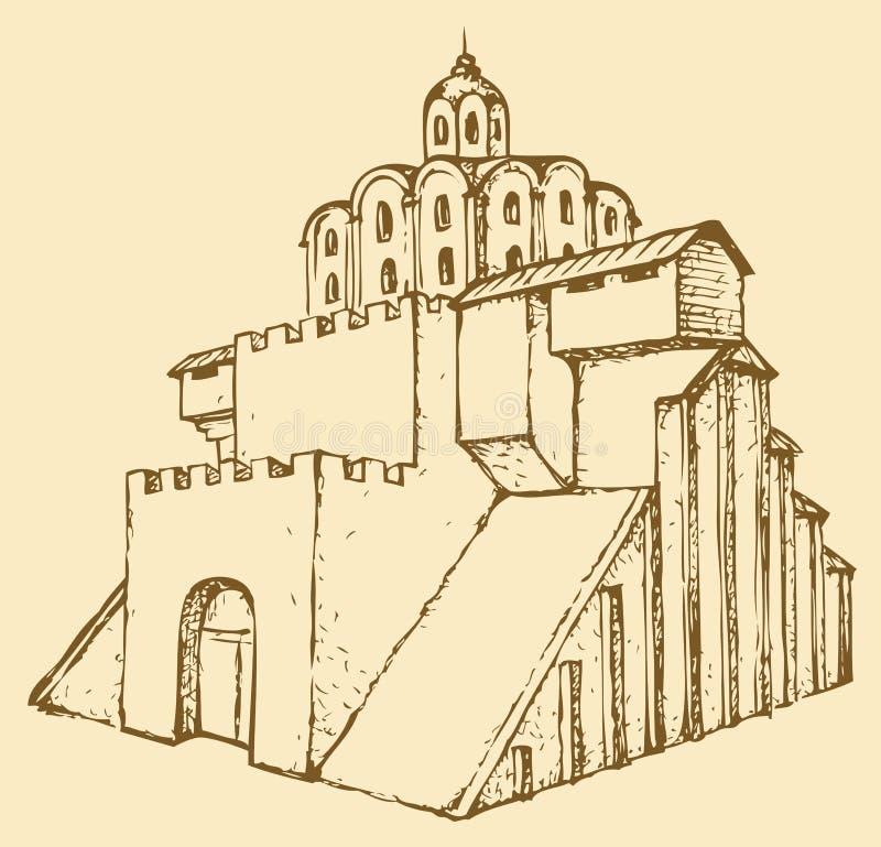 古老城市入口给金黄基辅装门中世纪对乌克兰 传染媒介剪影 库存例证