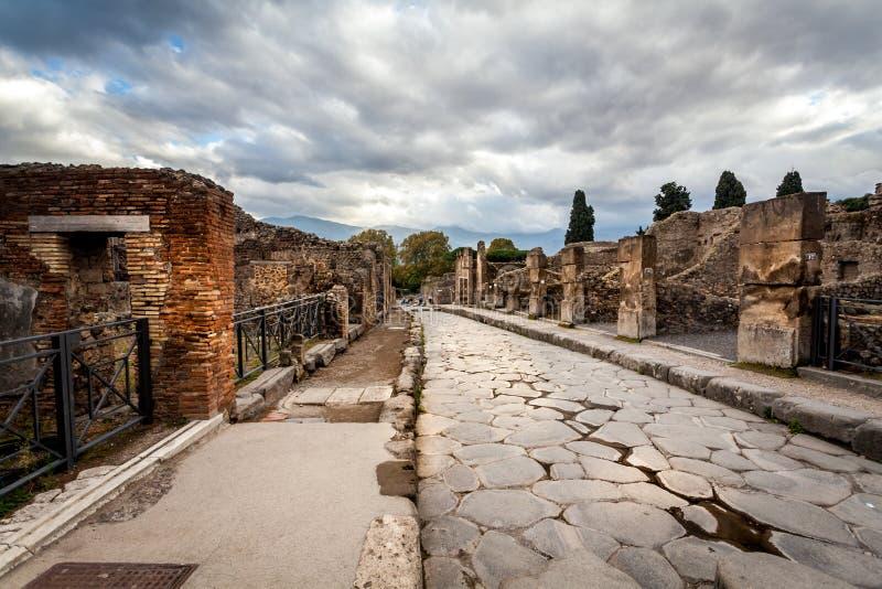 古老城市庞贝城废墟 免版税库存照片