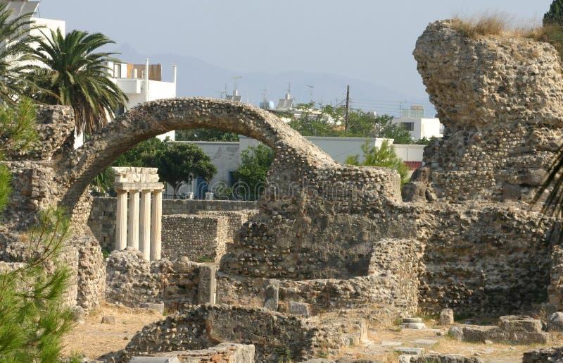 古老城市挖掘希腊海岛kos 免版税库存图片