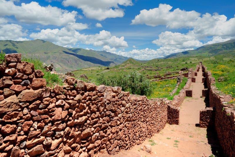 古老城市横向秘鲁墙壁 免版税库存照片