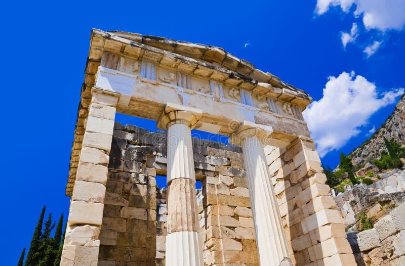 古老城市特尔斐,希腊的废墟 免版税图库摄影