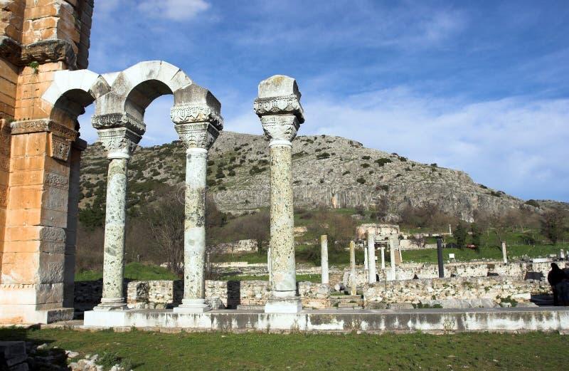 古老城市philippi废墟 库存照片