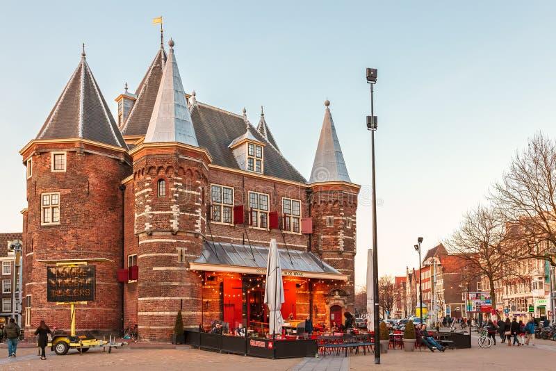 古老堡垒'Waag'在阿姆斯特丹,荷兰 免版税库存照片