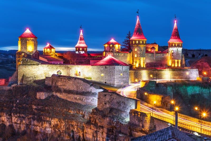 古老堡垒在Kamianets-Podilskyi,乌克兰 库存照片