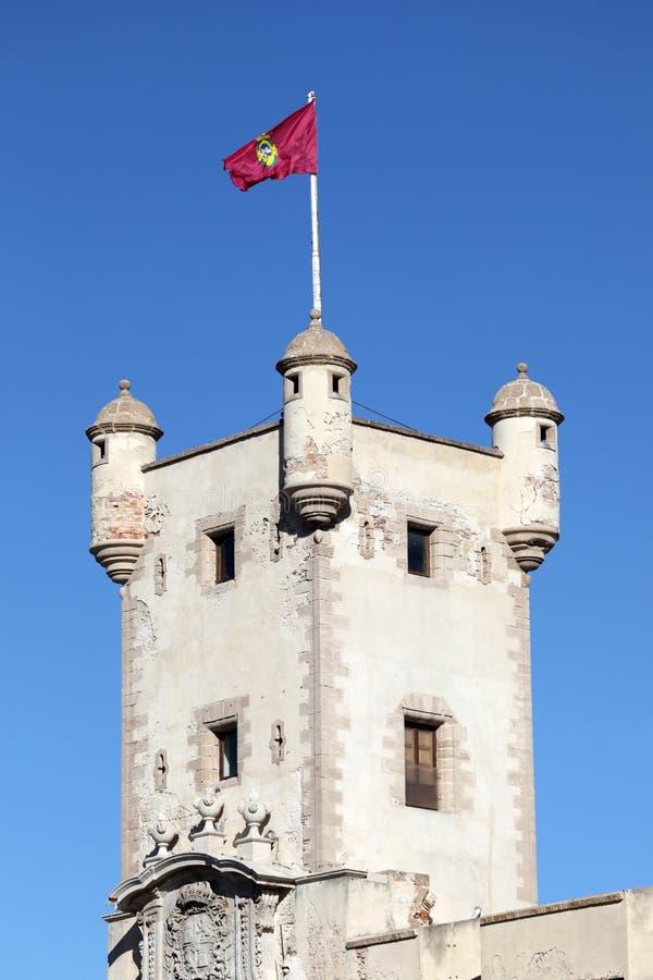 古老塔在卡迪士,西班牙 免版税库存照片