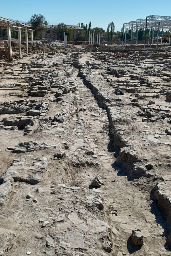 古老塔拉兹,哈萨克斯坦的挖掘 库存照片