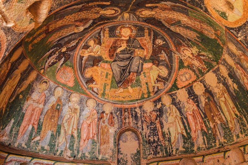 古老壁画在基督教会里在卡帕多细亚,土耳其 免版税库存照片