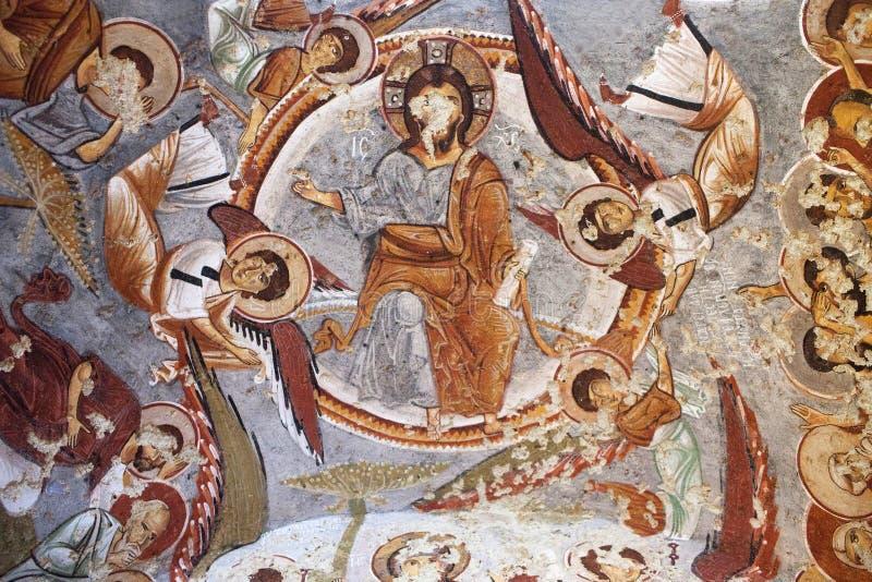 古老壁画在苹果计算机教会里在Goreme,土耳其 库存图片