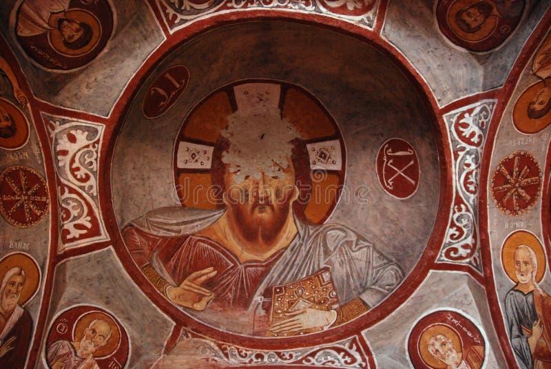 古老壁画耶稣 免版税库存照片
