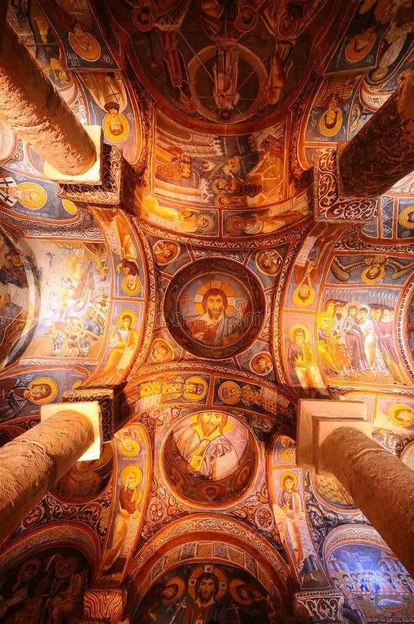 古老壁画在Cappadocia 免版税图库摄影