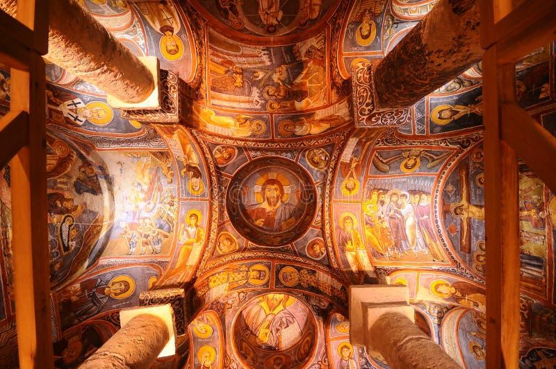 古老壁画在Cappadocia 免版税库存照片
