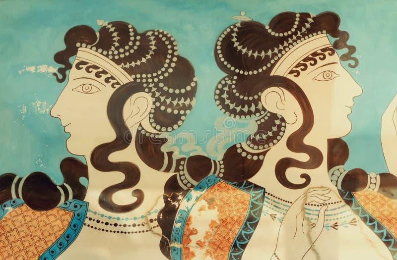 古老壁画的片段 Knossos, Cre宫殿  免版税库存照片