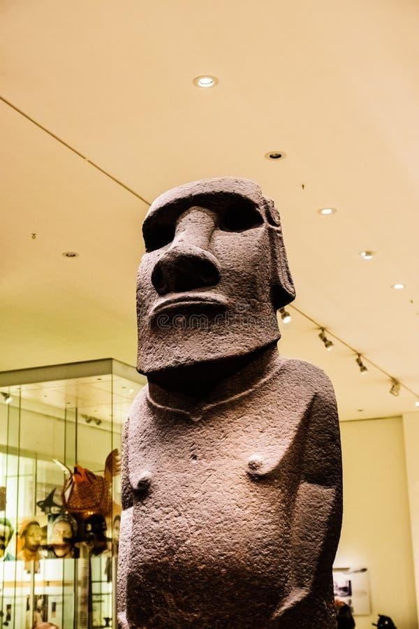 古老复活节岛形象或Moai 免版税库存照片