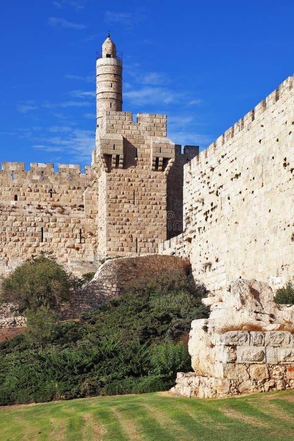 古老大卫塔墙壁 免版税图库摄影