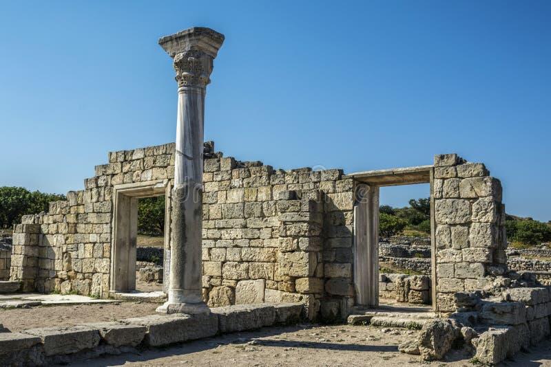 古老大教堂废墟是古城Chersonese 免版税库存照片