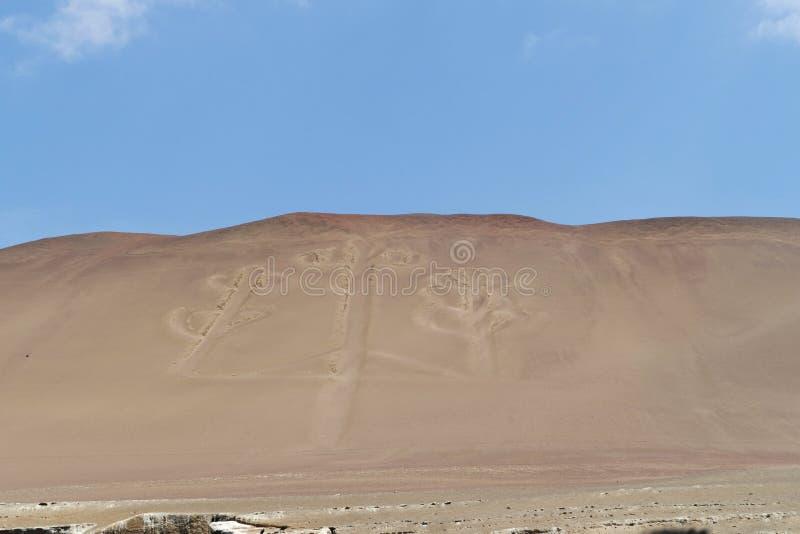 古老大规模大烛台形象在Paracas 库存图片
