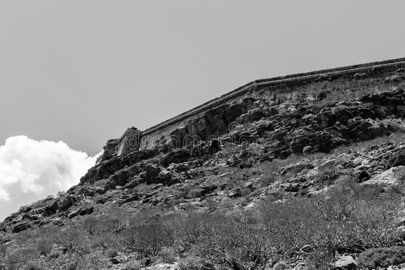 古老威尼斯式堡垒的堡垒墙壁在海岛Imeri格拉姆武萨群岛上的 库存图片