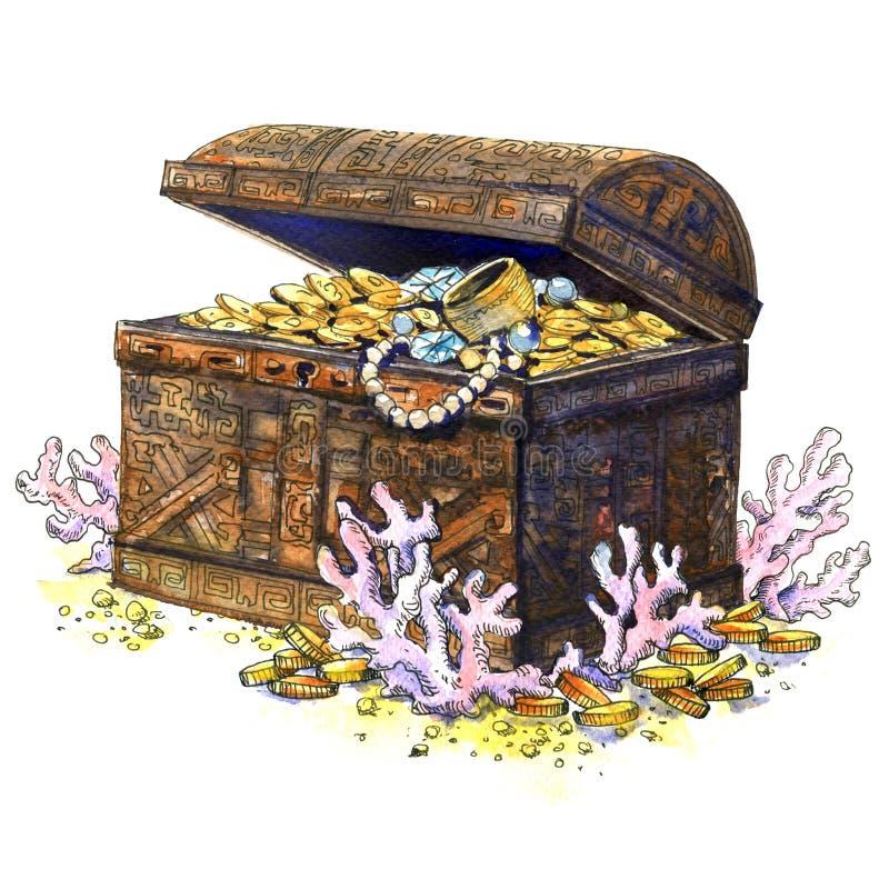 古老宝物箱,硬币,首饰,被隔绝 珊瑚鱼横向礁石热带水中 额嘴装饰飞行例证图象其纸部分燕子水彩 皇族释放例证