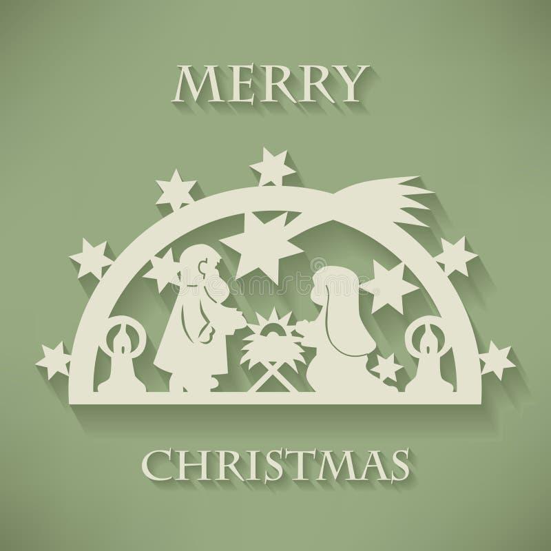 古老小雕象诞生场面集 纸裁减圣诞节背景 库存例证