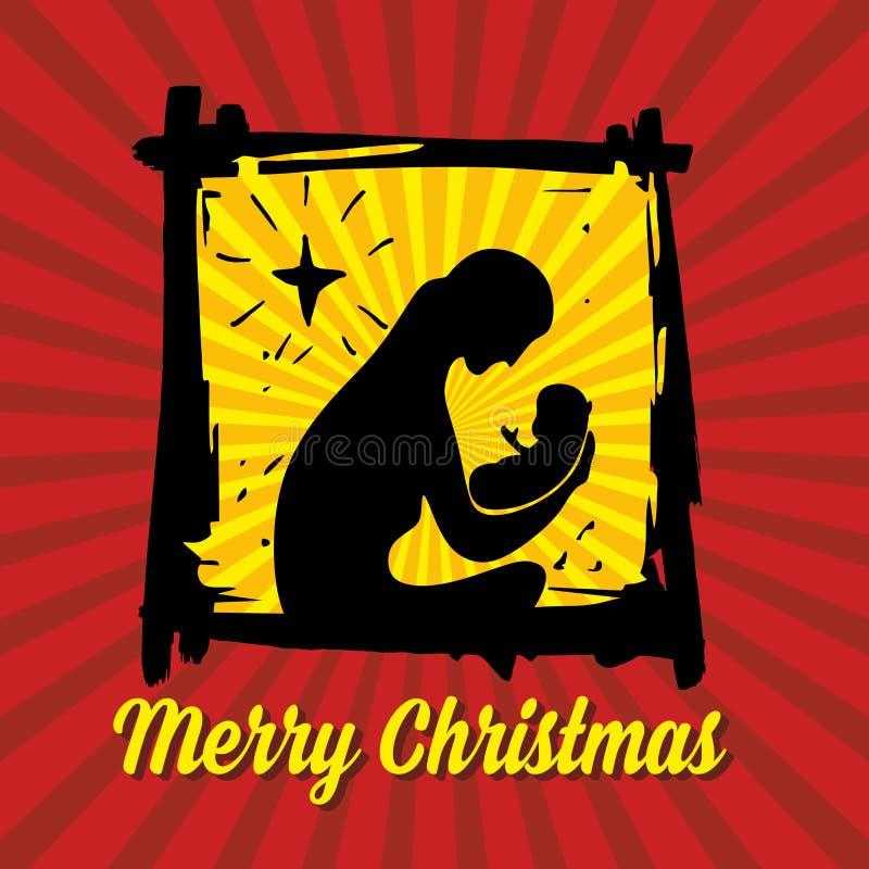 古老小雕象诞生场面集 袋子看板卡圣诞节霜klaus ・圣诞老人天空 皇族释放例证
