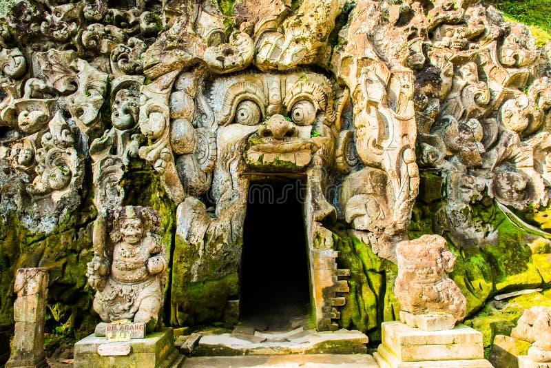 古老巴厘语寺庙果阿Gajah,大象洞的主要寺庙在巴厘岛,联合国科教文组织,印度尼西亚 免版税库存图片
