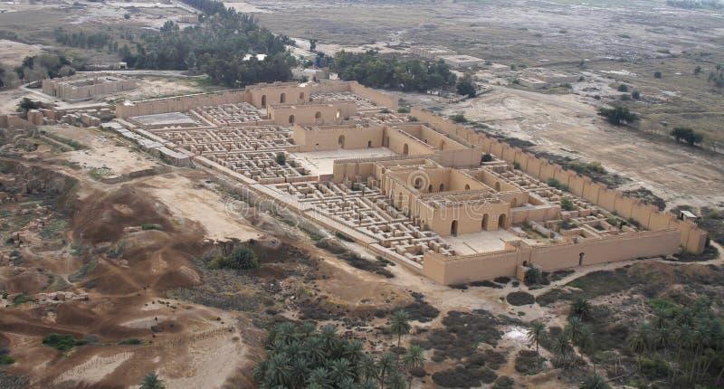 古老巴比伦在从空气的伊拉克 免版税库存照片