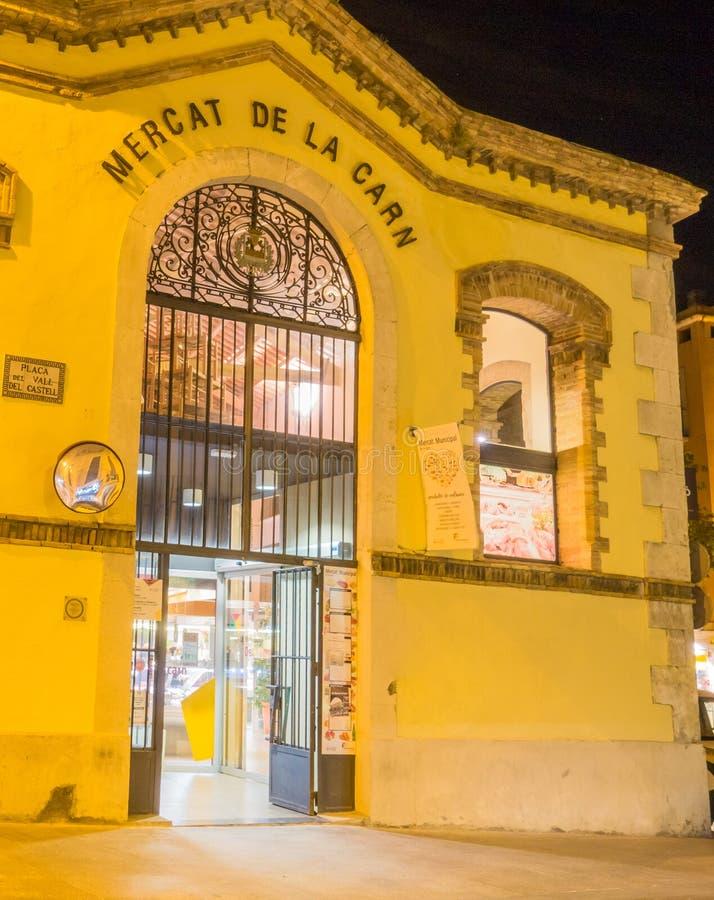 古老市政市场被阐明的nightview 库存图片
