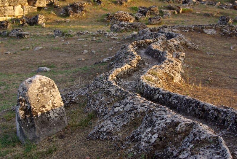 古老希拉波利斯,棉花堡废墟  火鸡 免版税库存照片
