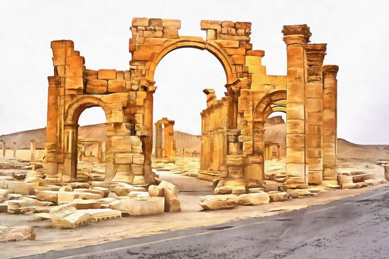 古老希腊文化的寺庙废墟五颜六色的绘画  库存例证