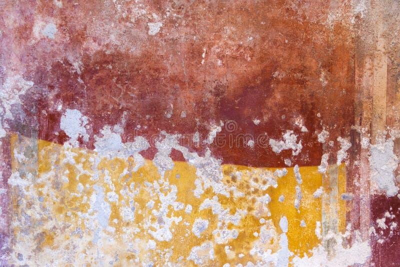 从古老庞贝城废墟颜色墙壁的纹理  免版税图库摄影