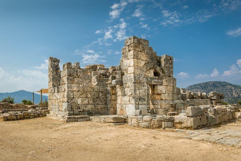 古老废墟在Kaunos, 免版税库存照片