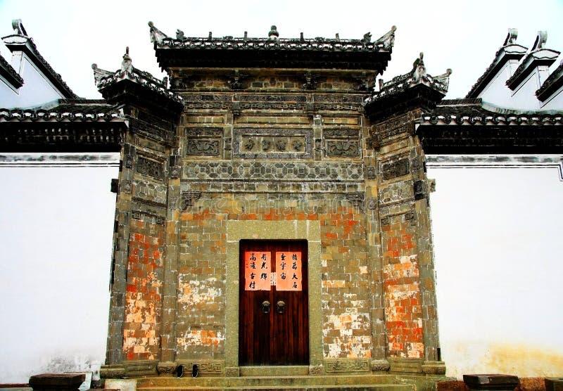 古老建筑学在zhuge bagua村庄,瓷古镇  库存照片