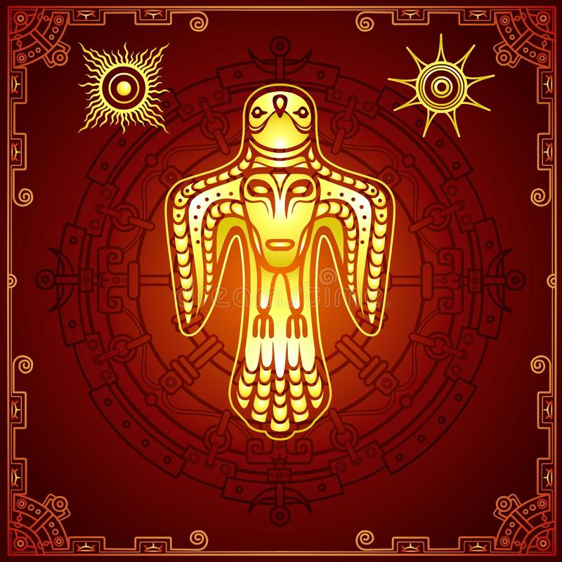 古老异教神的动画图象 与一个人面的鸟在乳房 皇族释放例证