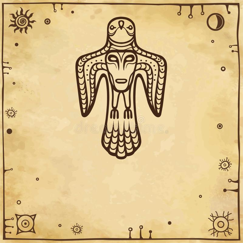 古老异教神的动画图象 与一个人面的鸟y在乳房 皇族释放例证