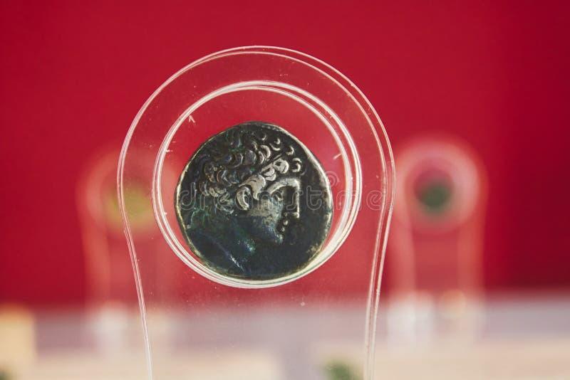 古老德拉克马,从托勒密国王时的一枚银币 库存照片