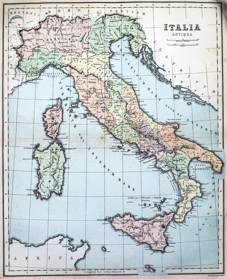 古老意大利的古色古香的地图 库存图片