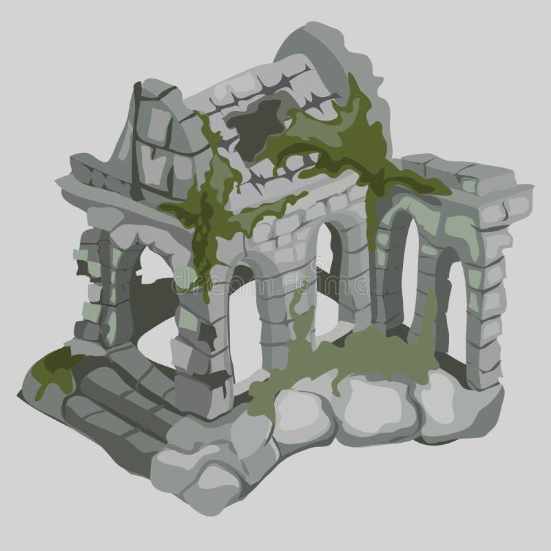 古老房子,中世纪样式被放弃的废墟  库存例证