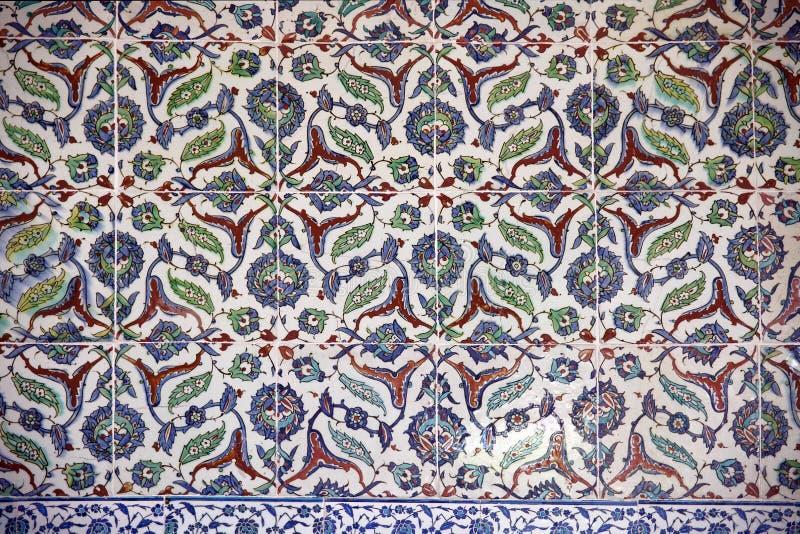 古老手工制造土耳其瓦片, Topkapi宫殿 免版税库存图片